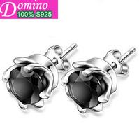 Fashion Luxury Black Onyx Stud Earrings 925 Sterling Silver Earrings Unisex Men Kors Earring women Jewelry Free Shipping