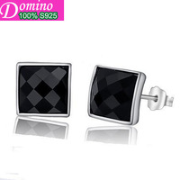 Silver earrings male and female models natural black onyx earrings earrings sterling silver earrings wholesale Men