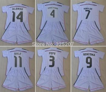 IKER CASILLAS PEPE SERGIO RAMOS RONALDO BALE ISCO BENZEMA JAMES ALONSO white kids boy high quality soccer jersey sets 14 15