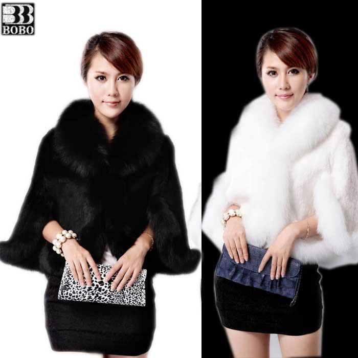 2014 fashion charm waistcoat cape imitation rabbit fur coat fox fur patchwork jacket(China (Mainland))