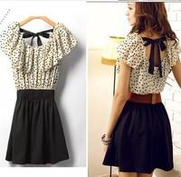 NEW! With Belt! 2014 New Fashion Summer Casual Women Lady Vintage Chiffon Dresses Short Polka Dots Dress Mini Dress Backless
