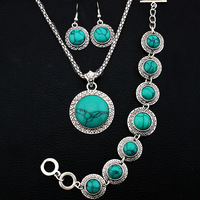 Retro Craft Antique Silver Plated Necklace Bracelet Earring Sun Flower Turquoise Jewelry Sets TS24