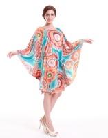 XL-8XL Plus Size Sexy Casual Women Print Dress Lady Batwing Sleeve Large Size XXXL XXXXL XXXXXL 4XL 5XL 6XL 2014 Spring Summer