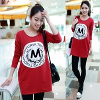 Hot Selling Letter M red color Long sleeve Good Quality women T shirt DM-11