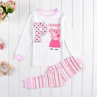 Free Shipping 2014 New Baby Peppa pig Pajamas PJS Children's Cartoon Pyjamas Pijama Girls Printed Sleepwears Home Clothing set