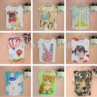 [Magic] 2014 Hot ! short sleeve o neck women tshirt Animal/flowers/cars/letters printed cotton t shirt women 120models catalog