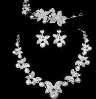 Luxury Stylish Crystal Imitate Pearl Butterfly Flower Hairband Wedding Jewelry Choker Necklace Earring Set