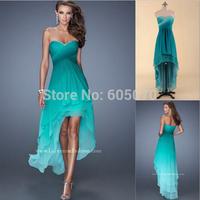 Vestidos New 2014 Hot Sale Sweetheart High Low Gradual Change Chiffon hi-low Prom Dress In Stock Sexy Part Dress