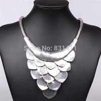 Vintage Silver Bohemian Retro Wave Chunky Pendant Necklcae 2014 New Fashion Jewelry Free Shipping