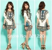 2014 New  Lady Fashion Dress Folk Print Bohemia Style Beach Dress Blue Plus Size Lce Silk Romana Cheap Drop Shipping