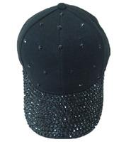 Black rhinestone baseball cap fashion 6-panel hat with synthetic stone promotion low price