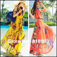 New fashion 2014 plus size Chiffon Bohemia dress women O-neck chiffon beach ruffles yellow Dress Peacock pattern one-piece dress