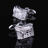 Best Gift For Men Luxury Transparent Gem Austria Crystal Men's Cuff Links Wedding Groom Men Cuff Links Cufflinks For Mens