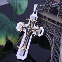 316L stainless steel cross pendant men necklace jewelry three