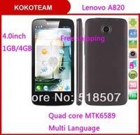 Original Lenovo A820 phone lenovo A820T 4.5'' quad core MTK6589 1.2GHz 1GB/4GB 8MP camera Russian Multi language smartphone