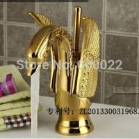 Azeta Brand China Bathroom Brass Material Swan Design Gold Basin Faucet