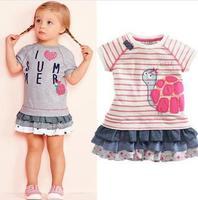 2014 new arrival children's clothing girls summer dress casual short-sleeved striped turtle Tortoise princess dress Next letter