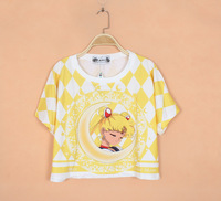 Cropped Tops For Women 2014 Sailor Moon Print Harajuku Kawaii Crop Top Candy Color Half Shirts