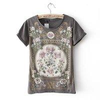 Girls fashion cotton blend vintage floral prints o-neck short sleeves regular t-shirt 217121