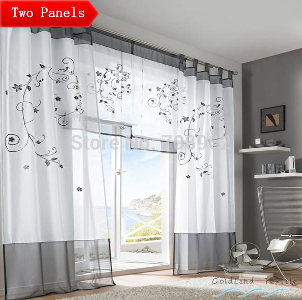 "USA Pastoral embroidered sheer curtains / screens / living room / den / bedroom / Tab top 55""*96"" 2PCS/lot(China (Mainland))"