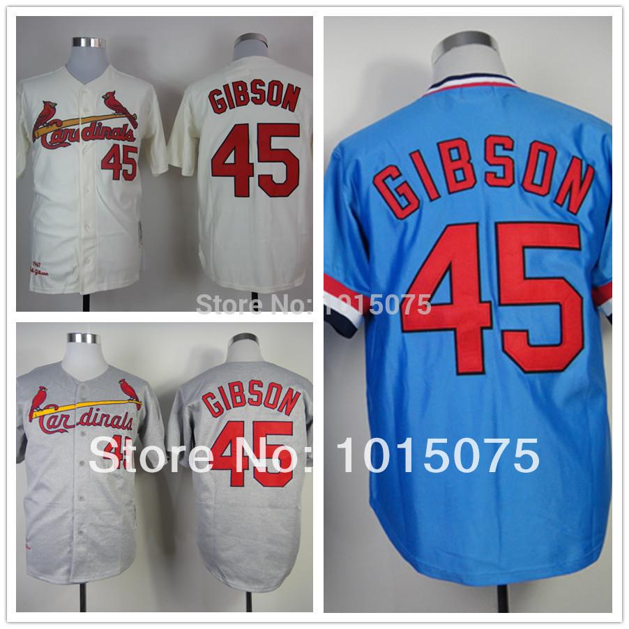 Bob Gibson Jersey Throwback Blue Cream St. Louis Baseball Jerseys(China (Mainland))