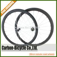 Only 1130g powerful 38mm tubular carbon bike wheelset ultra light 700C carbon fiber road bike wheels