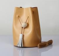 women handbag genuine leather tassel shoulder bags casual vintage fringe bag skin color simple round bottom black bag with strap