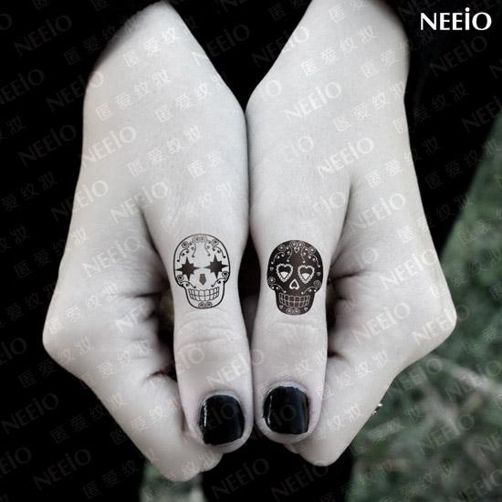 Temporary Tattoo Cute Skull Tattoo Sticker Fingers Fake Tatoo Waterproof Body Art Tatto Design Free Shipping(China (Mainland))