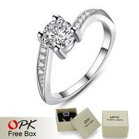 OPK JEWELRY Luxury AAA Cubic Zirconia 0.79 ct. CZ diamond Wedding Ring Noble Women Brand Jewelry, 954