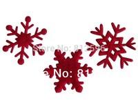 Free Shipping 100pcs 35mm 2015 New Winter Holiday Supply Small Red Felt Christmas Snowflake Charm Wedding Window Glass Decor