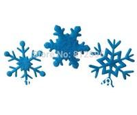 Free Shipping 100pcs 35mm Small Blue 2015 New Winter Holiday Supplies Christmas Felt Snowflake Wedding Window Glass Decorations