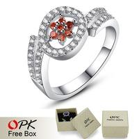 OPK JEWELRY 2014 Classic Platinum Plated Noble Ruby Zircon Ring Delicate Generous Women Costume Jewelry , 958