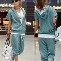 2014 Spring New Arrival Women Girls Hooded Short Sleeve T Shirt Cardigan Knee Length Short Casual trousers Sports Set