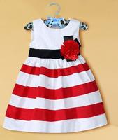 2014summer brand toddler baby girls dresses British princess classic Stripe children dress kid  clothing 100% cotton