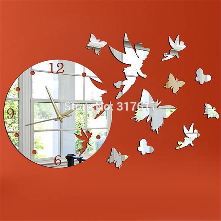 Butterfly Mirror Wall Clock Modern Design Decorative Mirrors Acrylic Crystal Wall Paper YC100 Watch Wall(China (Mainland))