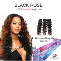 6A FREE SHIPPING deep Wave Virgin Brazilian hair Bundles 3pcs lot One Donor Young Girl Virgin Hair, Queen Hair products