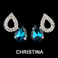 fashion earrings 2014 silver plated  teardrop ctystal stud earrings for women