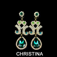 Statement crystal emerald earings water drop  lustre crystal brincos earrings high quality