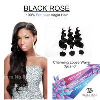 Virgin unprocessed AAAAAA Peruvian hair human hair weave wavy Peruvian virgin hair loose wave Rose hair products 3 pcs lot