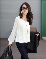 Freeshipping 2014 New Arrival Summer Long-Sleeve Women'S Top Chiffon Puff Sleeve Plus Size Chiffon Loose Shirt