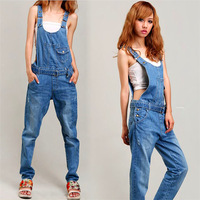 Woman Casual Mid-Waist  Straight  Suspender Full Length Jeans Denim Jumpsuits