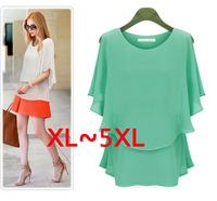 Free Shipping Plus size EU dress XXXXXL clothing summer chiffon shirt large size sunscreen short-sleeve dress 4XL 5XL