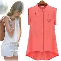 blusas femininas 2014 new camisas women tops summer short sleeve casual women blouse plus size chiffon shirt ropa mujer T002