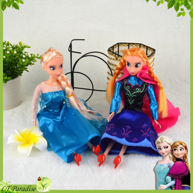 2pcs/set Frozen Dolls for Girls Princess Elsa & Anna Plastic Doll Toy Figures 2014 Briquedos Girls Princess Boneca Frozen(China (Mainland))