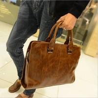 2014 Contrast Color Casual Leather Shoulder Bag Men's Big Messenger bag Fashion Business Handbags Briefcase Laptop Bag BG065