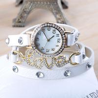2014 ladies top quality Rhinestone fashion dress watches women love patern wrap around bracelets quartz wristwatches W1602