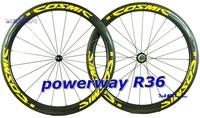 2014 new Yellow COSMIC,Full carbon 700C 50mm Clincher/Tubular road wheelset,clincer bike wheels,Basalt,Ti-QR,R36,CERAMIC