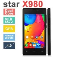Original Phone Star X980 4.0'' capacitive screen 800*480 Android4.2 MTK6572 Dual Core CPU 256MB RAM 512MB ROM GPS mobile phone O