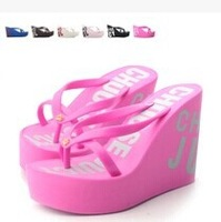 Free Shipping,2014 hot summer beach Sandals Platform wedge high heels Flip Flops Slippers Shoes for women Casual, 7 colors