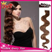 6a Peruvian virgin Human Tape Hair Extensions Wavy 40pcs/LOT 10inch-26inch #1 #1b #2 #4 #6 #8 #27 #613 in stock free shipping